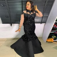 African Prom Dress Long Sleeves Black Appliques Sequins Mermaid Prom Gowns for Women vestido festa formatura