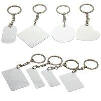 Tintura sublimação em branco chaveiro de metal duplo keychain DIY DIY retangular personalizado personalizado chaveiros folha de alumínio owb9020