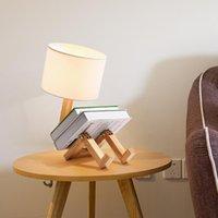 مصابيح الجدول الصلب الخشب القماش الإبداعية شمال الأوروبي مصباح أدى السرير غرفة نوم مكتب دراسة الحديثة بسيطة شكل متغير