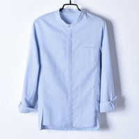 2021 New Arrival Desinger 긴 소매 아마 및 면화 남성 브랜드 패션 가을 셔츠 남성 플러스 사이즈 블루 셔츠 남성 everhemd ektn