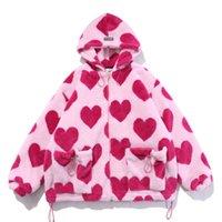 Lacible Parka Flana Sherpa Jacket Manteau Streetwear Heart Print Prince Love Shape Graphique Zipper À Capuche Hiver Hiver Hoverwear Tops