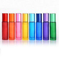 Esansiyel Yağlar için Karışık Renk Cam Rulo Şişe Parfüm Göz Kremi 10ml Rulo Haddeleme için Topu ile Flakon