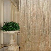 200 x100cm brilhante borla flash linha de prata corda cortina janela janela divisor sheer cortina valência decoração de casa