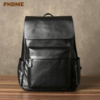 Backpack PNDME Casual Luxury Genuine Leather Men Women Backpacks Fashion Simple Business Natural Real Cowhide Travel Work Laptop Bagpack