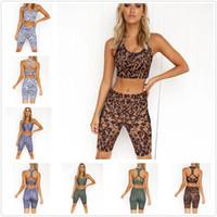 Outfit Été Européenne et American Cross Frontière Coupe serrée Ensemble de fitness 2 pièces Femmes Courtiers Cinq quarts de quart de Yoga costume 261028