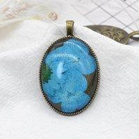 Ожерелья ожерелья реставрация древности с высушенным цветочным лесным растением стекло истинные ювелирные изделия леди ожерелье ремесел