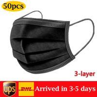 Одноразовые маски для лица США В наличии Черный 3-слойный защитную санитарную открытую маску с ртом arch