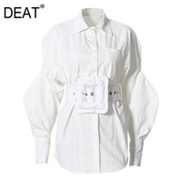 DEAT Spring Fashion Women Clothes Lantern Sleeves High Waist belt Single Breasted Shirt Top Female Tide SH73901