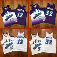 Uomo Basketball Utah.jazz32 Karl Malone 12 John Stockton Mitchellness 1996-97 Latifoglie Jersey classico e corto
