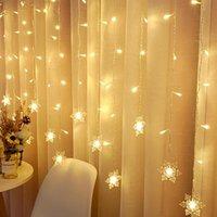 Cordas Grande Venda 3.5m 96 luzes LED Cortina Luz Ao Ar Livre Christmas AC220V Snowflake String Decoração de Festa à Prova D 'Água Reino Unido