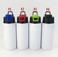 Сублимационные алюминиевые пробелы бутылки с водой 600 мл Теплостойкие чайники Спортивные чашки белого покрытия с широким рта морской доставка WWA184