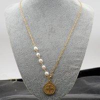 Collane pendente Diario Lessie 2021 Moda creativa Cion naturale perle d'acqua dolce perle collana maglione catena per le donne accessorio gioielli
