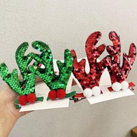 Hair Accessories 2pcs set Girls Cute Christmas Red Sequins Antlers Clips Lovely Ornament Headband Hairpins Fashion