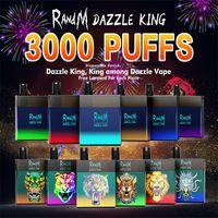 Randm Dazzle Kral Tek Kullanımlık E Sigara 3000Puffs Coloful LED Işık R ve M Anahtarı Pro VS Puf Bar Artı Bang XXL