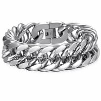 Charm bracelets bangle link Davieslee 18 22Mm Heavy Men's Bracelet Curb Cuban Link Silver Color 316L Rvs Polar Band Male Jewelry DLHB287 0722