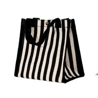 한국 줄무늬 핸드백 캔버스 여성 야채 쇼핑 가방 점심 가방을 들고 부엌 저장 조직 FWD9378