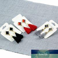 Long Tassel Earring Square Pendant Red Black Grey Drop Earrings for Women Brincos Brand Jewelry Punk Earring for Women e075