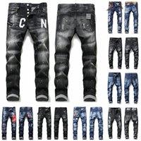 Erkek Serin Rips Streç Tasarımcı Kot Pantolon Sıkıntılı Yırtık Biker Slim Fit Yıkanmış Motosiklet Denim Erkekler S Hip Hop Moda Adam Pantolon 2021
