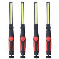 4 Pack Cob Lampada da lavoro Lampada da lavoro ricaricabile LED Lampada da lavoro con base magnetica a 360 ° Ruota lampada a maneggiata super luminosa per la riparazione dell'automobile Casa