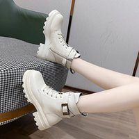 Boots 2021 Ankle For Women Shoes Round Toe Platform Thick Heels Short Winter Warm Plush Height Increasing Motorcycle