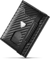 Wallets Mini Small Card Holder Men Slim Carbon Leather Purse RFID Case Zip Coin Compartment Black