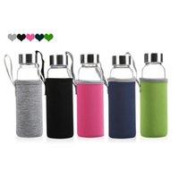 420 мл 550 мл Стеклянная бутылка с водой BPA BPA Бесплатный высокотемпературный устойчивый к стеклу Стеклянная бутылка для воды с чайным фильтром Инфузерная бутылка нейлоновая рукава