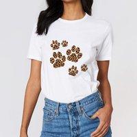 Женская футболка леопард напечатанный собака след футболки леди мода летняя одежда топ Tumblr гранж эстетическая белая футболка женщины хараджуку