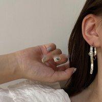Hoop & Huggie Korean Fashion Heart Belt Waistband Shape Ear Stud Clip Earrings For Women Metal Silver Color Cuff Aesthetic Jewelry