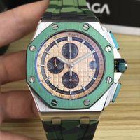 Herrenquarz-Armbanduhr 316 Fine Stahl Größe 43 mm Sechs Nadel Bewegung Design Camouflage Gummiband Bestseller Classic