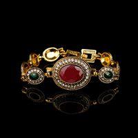 Charm Bracelets MIQIAO Gold Plated Color Stone Retro Boho Luxury Vintage Bangle Wrist Band Bracelet For Women Wedding Couple Gift Jew
