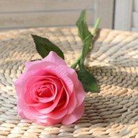 الزخرفية الزهور أكاليل 1 قطعة الأحمر روز الاصطناعي زهرة حقيقية اللمس اللاتكس حزب باقة للمنزل فو وهمية الزفاف الديكور سيليكون Q6