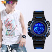 Armbanduhren 2021 skmei Kinder Uhren Sport Wasserdichte PU-Leder Bunte Anzeige Kinder Armbanduhr 12/24 Stunden Junge Uhr Relogio Infantil