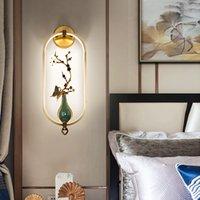 Nouveau lampe murale de cuivre de style chinois salon moderne salon lampe lampe de chevet allaite LED lumières créatives étude de décoration fond de fond