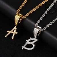 Pendant Necklaces 2021 Cursive Font Writing Initial Letters Chain & For Men Women Full Iced Out Cubic Zircon Hiphop Jewelry