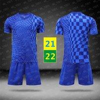 الولايات المتحدة بسرعة 2021 2022 كرة القدم الفانيلة ملابس الأطفال سريعة جافة المنزل جيرسي الأزرق كرة القدم قصيرة الأكمام رجل رياضة الجري قميص 21 22 مع logo # Qexz-21B1