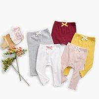 Девушки Леггинсы Весна и осень Чистый цвет Детские новорожденные Большие Бусы Младенческая Одежда