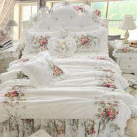4 قطع الكورية نمط البيج الأميرة الفراش مجموعة فاخرة روز الطباعة الدانتيل لحاف غطاء الكشكشة السرير ورقة السرير القطن الملكة الملك الحجم 487 R2