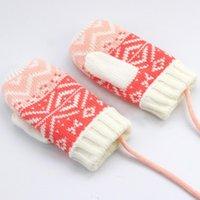 Nouveau 1 paire Nouvelle Arrivée Hiver Baby Girls Gants tricotés Polaire Corde chaude Toile Full Mitat Gants pour enfants Enfants enfants