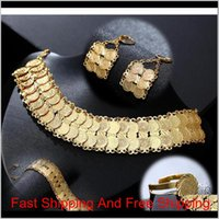 Exquisite Fashion Middle East Arab Bride Muslim Coin Necklace Earring Ring Bracelet Set Gold Color Wedding Jewelry Accessories Cqdax 3 2Cd17