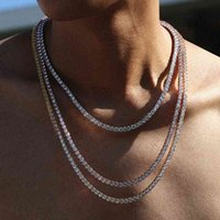 Necklaces Luxury S925 Sterling Silver Solid White Gold Color Iced Out Moissanite Real Diamond Tennis Chain Fashion Necklace Men Jewelry 864e