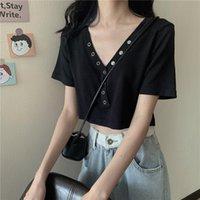 Women's Sweaters Summer 2021 Black V-neck Short Sleeve High Waist Navel T-shirt Ins Fashion Thin Knitted Top Women