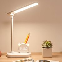 Table Lamps Kids Led Cute Desk Lamp Portable Study Reading Lights Office Bedside Touch Night Light With Pen Holder Clock