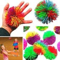 6CM Colorful Soft Active Fun Toys Sensory Fidgets Toys Rainbow Rubber Bouncy Stress Novelty Toy For Adult Kids 100pcs