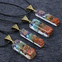 Collana Chakela Orgonite di vendita calda, collana di energia di cristallo, pietra preziosa in resina pietra lucidata, meditazione Seven Chakra Pendant