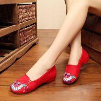 Женщины Классический световой вес скольжения на плоских обувь Дамы повседневная черная весенняя танцевальная обувь Летние холст балетные мокасины Zapatos G2229 W6NY #