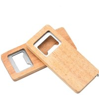 newWood Beer Bottle Opener Stainless Steel With Square Wooden Handle Openers Bar Kitchen Accessories Party Gift seaway ZZF11384