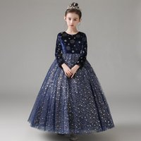 Girl's Dresses Flower Girl Illusion O-Neck Sequined Princess Floor-Length Tulle Lace Full Luxury Navy Blue Lovely Kids Party Gown H226