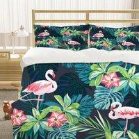 Bedding Sets 3D Cartoon Animals Cases Custom Design Flamingo Quilt Cover Pillow Slips King Queen Super Twin Size Modern Beddings