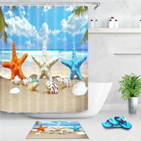 바다 해변 샤워 커튼 불가사리 쉘 인쇄 목욕 스크린 폴리 에스터 방수 샤워 커튼 장식 후크와 함께 owe4833