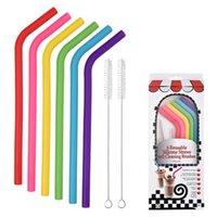 6 STÜCKE + 2Brush / Set 23cm Candy Colors Silikon Stroh wiederverwendbar Gefaltet gebogener Straweis Home Bar-Zubehör Silikon-Röhrchen LLA376